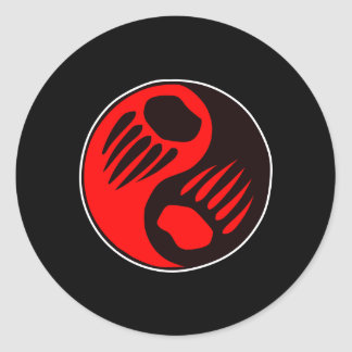 Bear Claw Yin Yang Black Classic Round Sticker