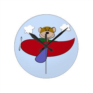 Bear Colorful Airplane Nursery Round Clock