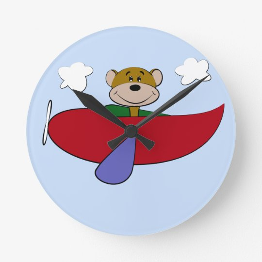 Bear Colourful Airplane Nursery Round Clock