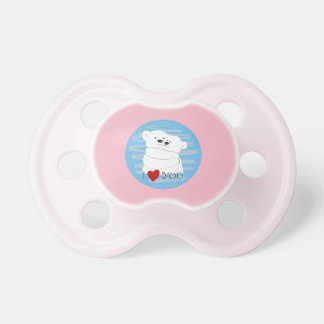 Bear Couple Polar Cute Love Winter Hug Baby Pink Pacifier