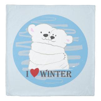 Bear Couple Polar Cute Love Winter Hug Blue Chic Duvet Cover