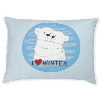 Bear Couple Polar Cute Love Winter Hug Blue Chic Pet Bed