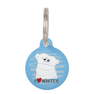 Bear Couple Polar Cute Love Winter Hug Blue Chic Pet Name Tag