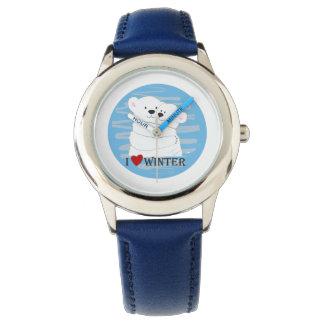 Bear Couple Polar Cute Love Winter Hug Blue Chic Watch