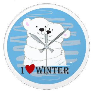 Bear Couple Polar Cute Love Winter Hug Cartoon Large Clock