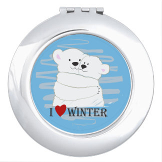 Bear Couple Polar Cute Love Winter Hug Cartoon Makeup Mirrors
