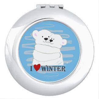 Bear Couple Polar Cute Love Winter Hug Cartoon Travel Mirror