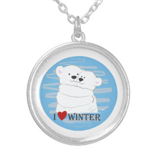 Bear Couple Polar Cute Love Winter Hug Girly Blue Silver Plated Necklace