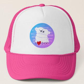Bear Couple Polar Cute Love Winter Hug Lovely Pink Trucker Hat