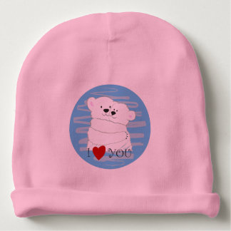 Bear Couple Polar Cute Love Winter Hug Pink Baby Baby Beanie