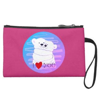 Bear Couple Polar Cute Love Winter Hug Pink Girly Suede Wristlet
