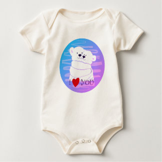 Bear Couple Polar Cute Love Winter Hug Pink Neon Baby Bodysuit