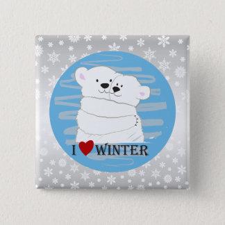 Bear Couple Polar Cute Love Winter Hug Snow Blue 2 Inch Square Button