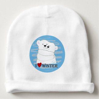 Bear Couple Polar Cute Love Winter Hug Snow Blue Baby Beanie