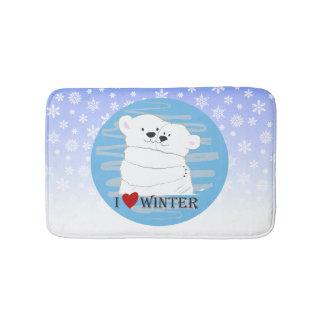 Bear Couple Polar Cute Love Winter Hug Snow Blue Bath Mat