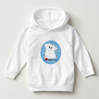 Bear Couple Polar Cute Love Winter Hug Snow Blue. Hoodie