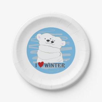 Bear Couple Polar Cute Love Winter Hug Snow Blue Paper Plate