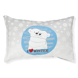 Bear Couple Polar Cute Love Winter Hug Snow Blue Pet Bed