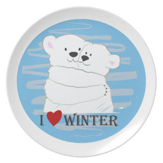 Bear Couple Polar Cute Love Winter Hug Snow Blue Plate
