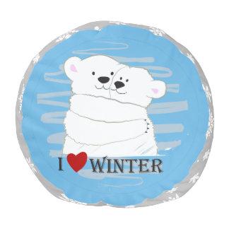 Bear Couple Polar Cute Love Winter Hug Snow Blue Pouf