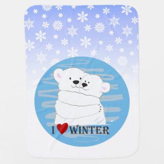 Bear Couple Polar Love Winter Hug Cute Baby Blue Baby Blanket