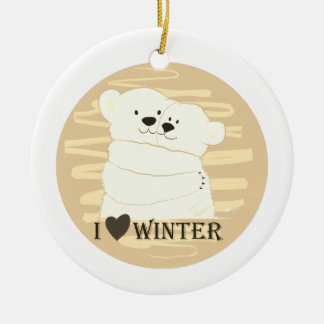 Bear Couple Polar White Love Winter Hug Golden Ceramic Ornament