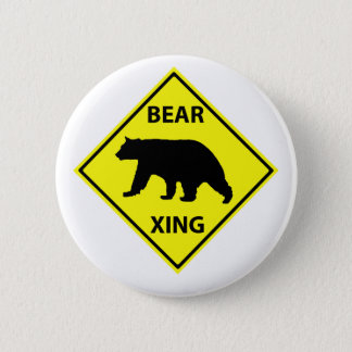 Bear Crossing Sign with Bear 2 Inch Round Button