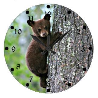 Bear Cub Climbing a Tree Large Clock