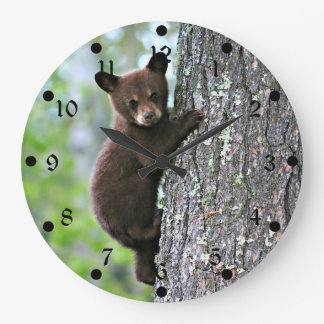 Bear Cub Climbing a Tree Wallclocks