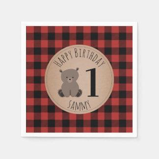 Bear Cub Lumberjack Plaid Baby Birthday Napkins Paper Napkin