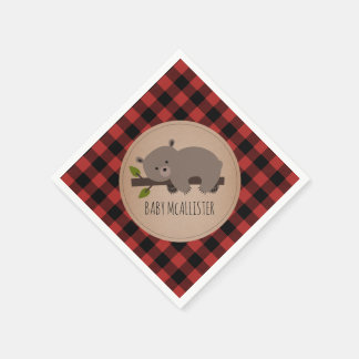 Bear Cub Lumberjack Plaid Baby Shower Napkins Paper Napkin