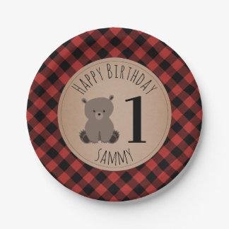 Bear Cub Lumberjack Plaid Birthday Party Paper Plate