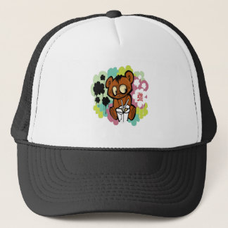 Bear cute baby cartoon chinese trucker hat