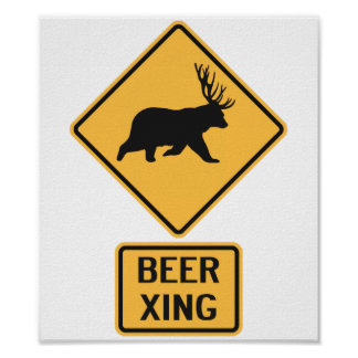 Bear Deer Beer Crossing Poster