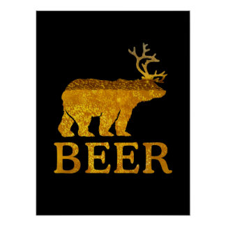 Bear Deer or Beer Bold Silhouette Poster