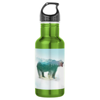 Bear double exposure - polar bear - bear art 532 ml water bottle