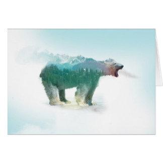 Bear double exposure - polar bear - bear art card