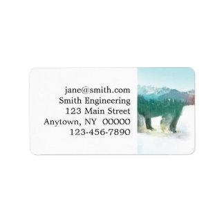 Bear double exposure - polar bear - bear art label