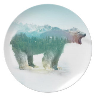Bear double exposure - polar bear - bear art plate