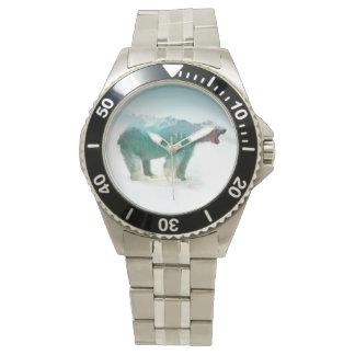 Bear double exposure - polar bear - bear art watch