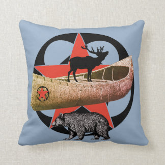 Bear Elk And Canoe Red Star Wilderness Throw Pillow