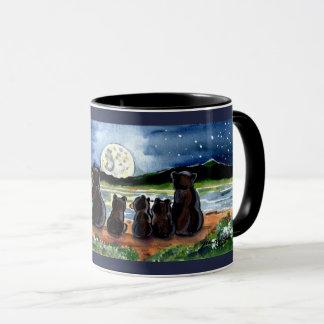 Bear Family and Moon Night Time Designer Blue Mug