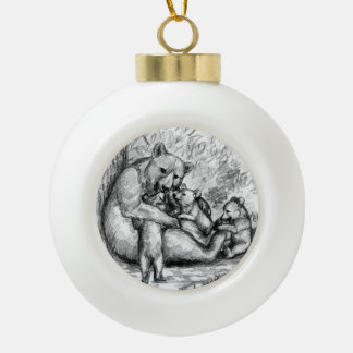 Bear  Family Ceramic Ball Christmas Ornament