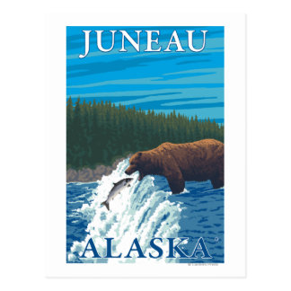 Bear Fishing in River - Juneau, Alaska Postcard