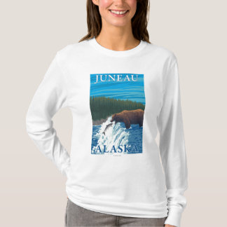 Bear Fishing in River - Juneau, Alaska T-Shirt