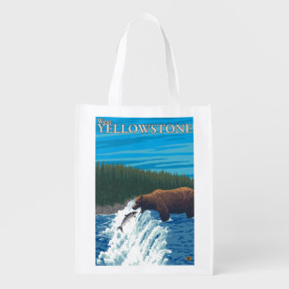 Bear Fishing in River - West Yellowstone, MT Grocery Bag