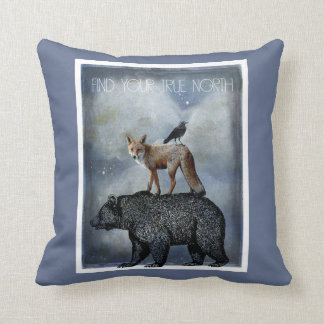 Bear Fox And Crow True North Throw Pillow