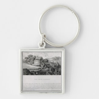 Bear Garden, 1647 Silver-Colored Square Keychain