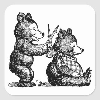 Bear Gets a Haircut Vintage Illustration Square Sticker