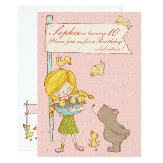 Bear Girl Ducklings Children Birthday Invitation